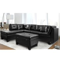 Harper & Bright Designs Sectional Sofa with Chaise and Storage Ottoman, Black