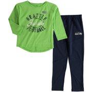 Seattle Seahawks Girl s Preschool Fan Gear Fan Gear Football Sweetheart  Long Sleeve T-Shirt and a7be34156