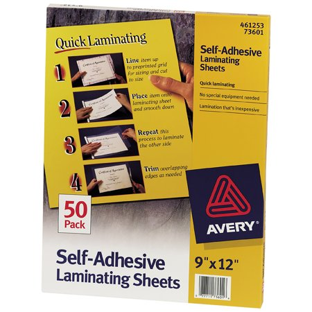 Adhesive Pouch - Avery Self-Adhesive Laminating Sheets, 9 x 12, Permanent Adhesive, 50 Clear Laminating Sheets (73601)