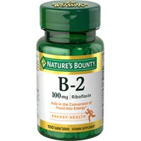 Nature's Bounty B-2 Riboflavin, 100mg Coated Tablets, 100ct