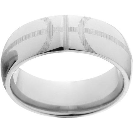 Basketball Message Ring (8mm Half-Round Titanium Basketball Lasered Ring in Basketball Gift)