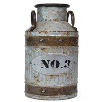Galvanized Metal Rustic Milk Can, Small