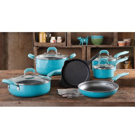The Pioneer Woman Vintage Speckle 10 Piece Non-Stick Pre-Seasoned Cookware Set (kitchen aid 10 piece set)