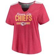 b36a45a518 Women's Majestic Heathered Red Kansas City Chiefs Notch Neck Plus Size  T-Shirt