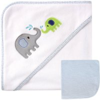 Luvable Friends Baby Hooded Towel with Washcloth, Blue