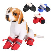 Dog Boots Waterproof Paw Protectors Dog Shoes with Adjustable Straps and Rugged Anti-Slip Sole, 4pcs (S)