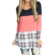 ea4a150bae8ad Women s Casual Striped Plaid O Neck Long Sleeve Pullover Blouse Tunic Tops  T Shirts