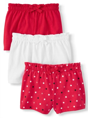 Solid & Print Knit Shorts with Bow, 3pc Multi-Pack (Baby Girls)