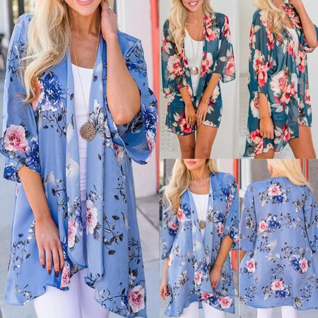 Women Vintage Floral Loose Shawl Kimono Cardigan Boho Chiffon Tops Jacket (Almost Womens Shirt Jacket)