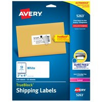 """Avery Shipping Labels, TrueBlock Technology, Permanent Adhesive, 2"""" x 4"""", 250 Labels (5263)"""