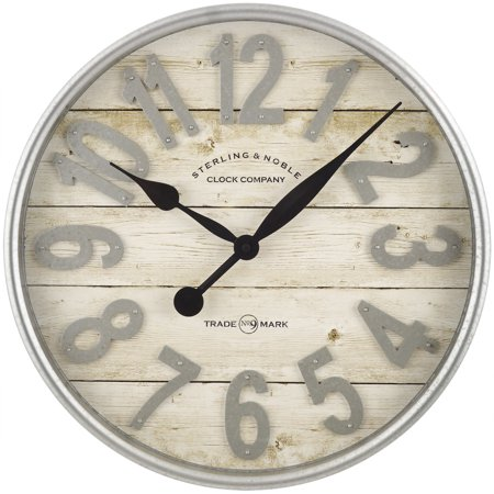 Better Homes & Gardens Farmhouse Plank with Galvanized Finish Wall Clock, 1 Each