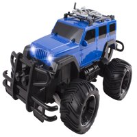 RC Truck Jeep Big Wheel Monster Trucks Beast Remote Control Car LED Headlights Ready to Run INCLUDES RECHARGEABLE BATTERY 1:16 Size Off-Road Toy (Blue)