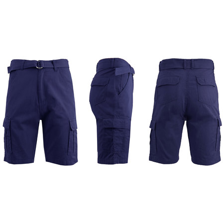 Mens Flat Front Belted Cotton Cargo Shorts