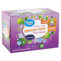 Great Value Ultimate Fresh Blooming Lavender Dryer Sheets, 240 count