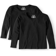 Women's Long Sleeve Ribbed Crewneck T-Shirt, 2 Pack Bundle