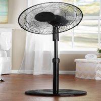 """Mainstays 16"""" 3-Speed Oscillating Pedestal Fan, Black, FS40-8MB"""