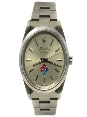 "Rolex Air-King 14000 Silver ""Dominos Pizza"" Stick dial and Stainless Steel Smooth Bezel (Certified Pre-Owned)"