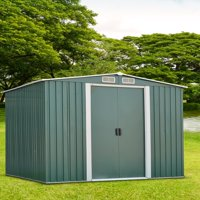 Ainfox 8' x 10' Steel Storage Shed, Utility for Outdoor Garden Backyard Lawn Warm (Green)