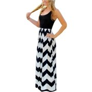 c00dc3b7001c Plus Size Womens Long Maxi Dresses Wave Striped Sleeveless Casual Loose  Summer Beach Sundress Party Cocktail