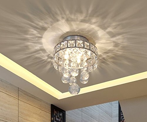 Mini Style 3-Light Chrome Finish Crystal Chandelier Pendent Light for Hallway,Bedroom,Kitchen,Kids Room,Bulb - Mocha Finish Chandeliers