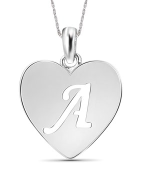 Sterling Silver Initial Cutout Heart Pendant Necklace