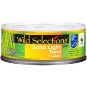 (3 Pack) Wild Selections Solid Light Tuna in Water, Canned Tuna Fish, High Protein Food, 5oz Can