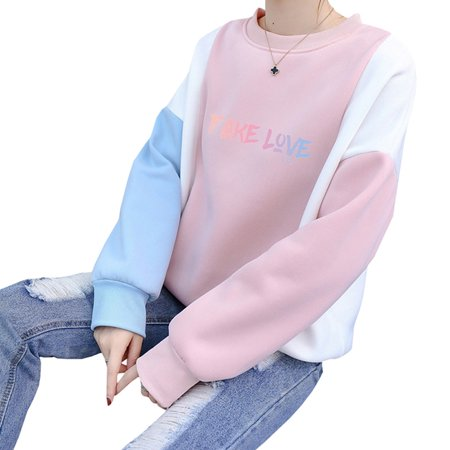 Fancyleo Women's Girls Kpop BTS Love Yourself 結 Answer Color Block Pullover Sweatshirt Sweater (Girls Sweaters Pullover)