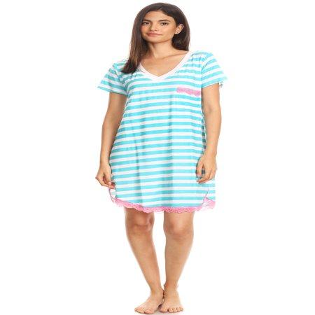 1302 Womens Nightgown Sleepwear Pajamas - Woman Sleeveless Sleep Dress Nightshirt Blue - Renaissance Gowns