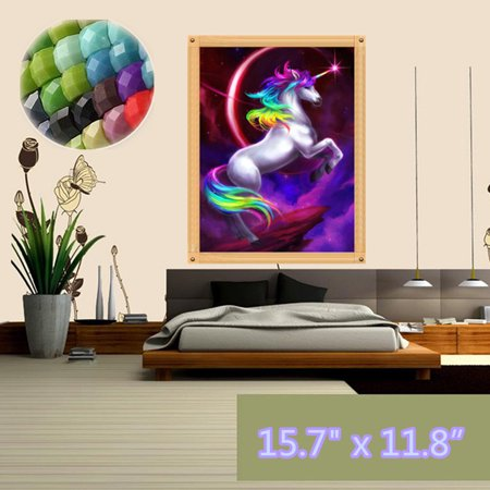 5D DIY Crystal Diamond Jewelry Wall Art Painting by Number Kit, Full Drill Flying Unicor n Animal Embroidery Cross Stitch Rhinestone Pictures Arts Craft Home Wall Decor (Diamond Art Jewelry)