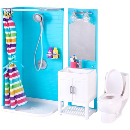 my life as 17 piece bathroom play set with shower and light up vanity. Black Bedroom Furniture Sets. Home Design Ideas