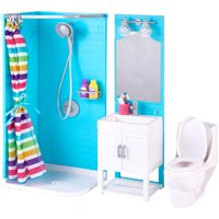 My life as 17-piece bathroom play set with shower and light-up vanity