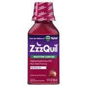 ZzzQuil Nighttime Sleep Aid Liquid by Vicks, Calming Vanilla Cherry Flavor, 12 Fl Oz