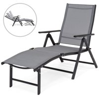 Best Choice Products Reclining Folding Chaise Lounge Chair for Outdoor, Patio, Poolside w/ Armrests, Adjustable Foot Rest - Gray