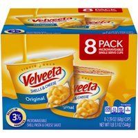 (2 Pack) Kraft Velveeta Original Shells & Cheese 8-2.39 oz. Cups