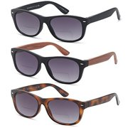 fc0b38ed87 GAMMA RAY 3 Pack of Vintage Style Bifocal Sunglasses Readers w Gradient  Lens UV400 Protection Outdoor. Price