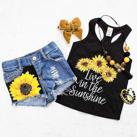 Children Clothing Boutiques (2PCS Toddler Baby Kids Girl Summer Clothes Live in The Sunshine Sunflower Vest Tank Tops+Denim Short Pants Outfit Set 1-2)