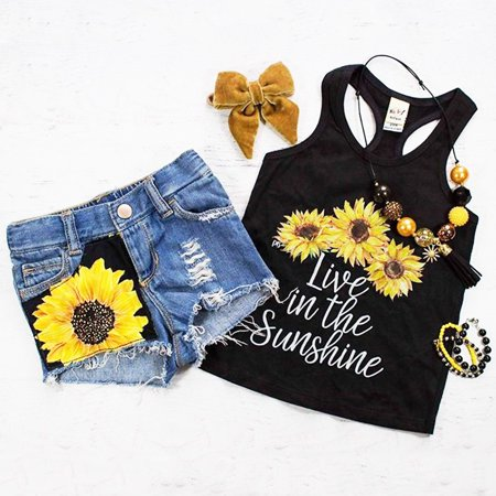 2PCS Toddler Baby Kids Girl Summer Clothes Live in The Sunshine Sunflower Vest Tank Tops+Denim Short Pants Outfit Set 1-2 Years (Boutique Toddler Girl Clothes)