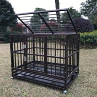 """37""""/42''/48"""" Brown Heavy Duty Dog Cage Crate Kennel Metal Pet Playpen Portable w/ Tray"""