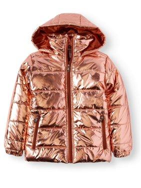 Bocini Metallic Hooded Puffer Coat (Little Girls & Big Girls)