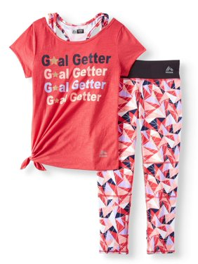 Performance 2Fer Side Tie Top & Legging, 2-Piece Set (Little and Big Girls)