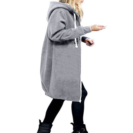 Hooded Women Plus Size Jacket Zip Up Hoodies Sweatshirt Winter Coat Long Tops Outwear Oversized Pocket Loose (Blend Full Length Black Overcoat)