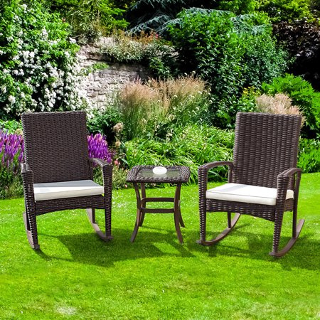 Gymax 3PC Patio Rattan Wicker Furniture Set Cushioned Outdoor Garden - image 6 of 8