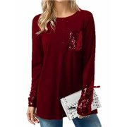 ae4827f3a53 Long Sleeve Women T-shirt Sequins Patchwork Casual Tops