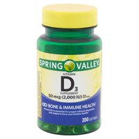 Spring Valley Vitamin D3 Supplement Softgels, 50 mcg, 200 count