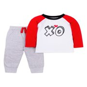 Valentine's Long Sleeve T-shirt & Jogger Pants, 2pc Outfit Set (Toddler Boys)