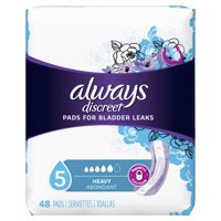 Always Discreet Incontinence Pads for Women, Heavy Absorbency, 48 Count