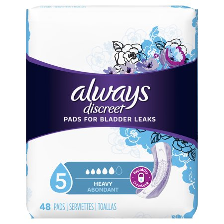 Always Discreet Incontinence Pads for Women, Heavy Absorbency, 48