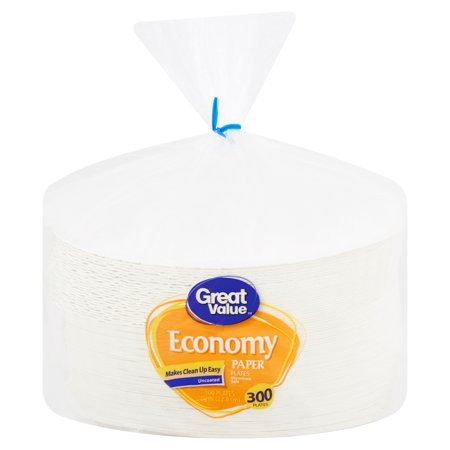 "Great Value Economy Paper Lunch Plates, 8 5/8"", 300 Count"