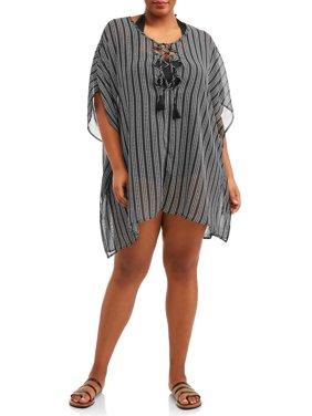 Women's Plus Stripe Chiffon Cover-Up