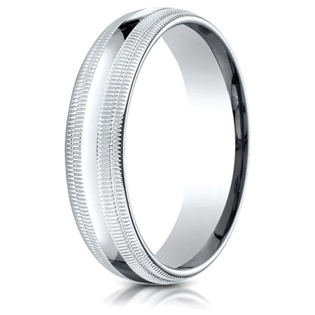 10k Gold 4mm Slightly Domed Standard Comfort-fit Wedding Band / Ring with Double Milgrain